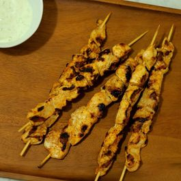 Chicken Tikka Masala Kebabs with Cucumber Yogurt Dip