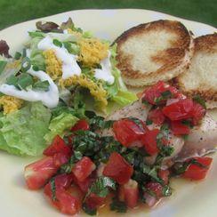 Salmon with Tomato-Basil Sauce