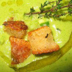Asparagus & Green Garlic Soup w/ Parmesan Croutons