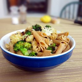 Pasta with broccoli, anchovies, lemon
