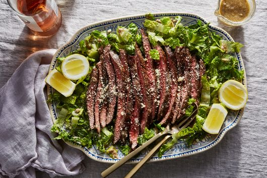 Marinated Steak With Almost Caesar Salad