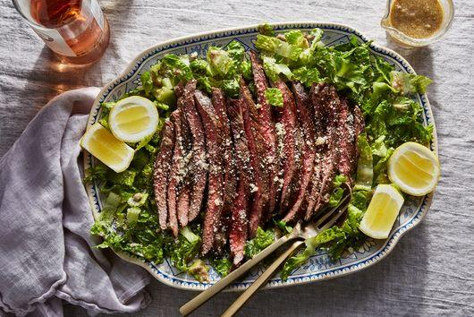 Marinated Steak With Almost Caesar Salad