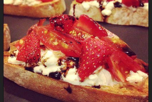 Burrata, Tomato and Strawberry Crostini