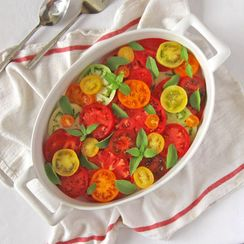 Heirloom Tomatoes Simply Sliced & Served with Lemon Basil