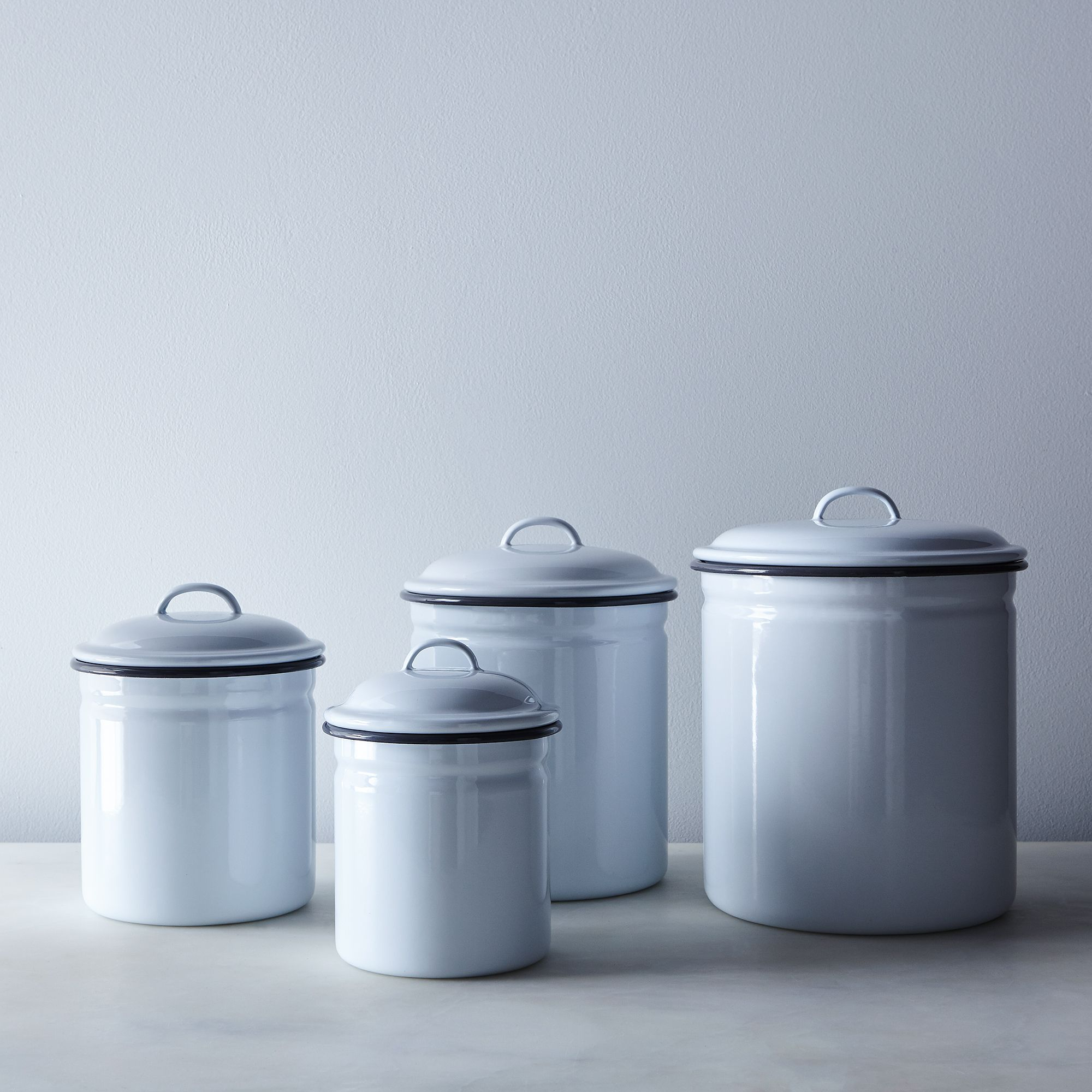 everywhere anywhere enamelware white grey enamel kitchen canisters set of