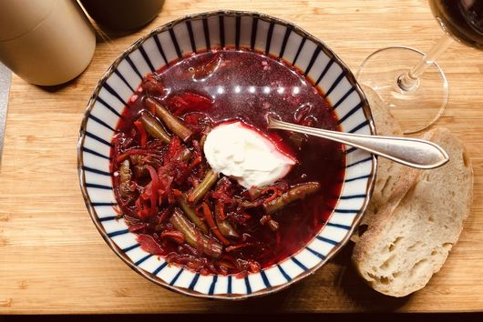 Borscht made with Beets and Pork Rib Stock