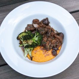 Slow Cooked Pork with Figs and Kabocha Polenta