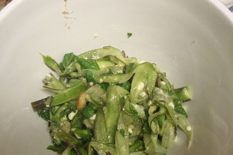 Shaved Asparagus Salad with Peas, Mint, and Feta