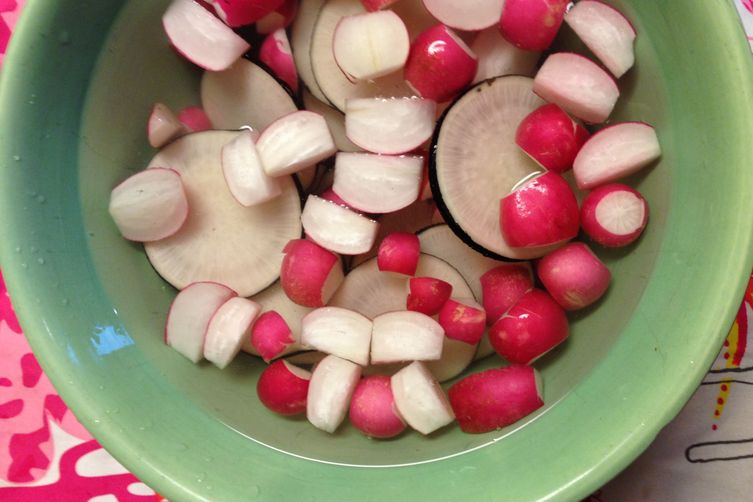 Pickled Pink and Black Radishes