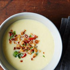 Corn Soup with Tofu Larb