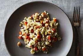 Pearl Couscous with Roasty Roots, Chickpeas, and Pepitas