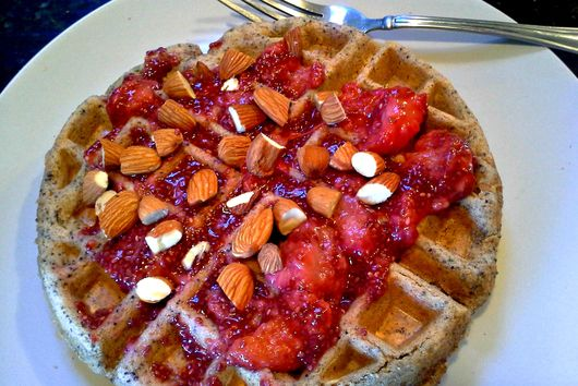 Lemon Poppy Seed Waffles with Strawberry Jam