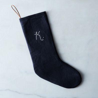 Grey Linen Stocking with Monogram Option