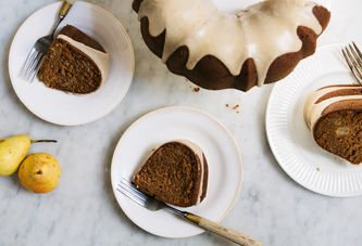 Roasted Pear Cake with Brown Butter Glaze