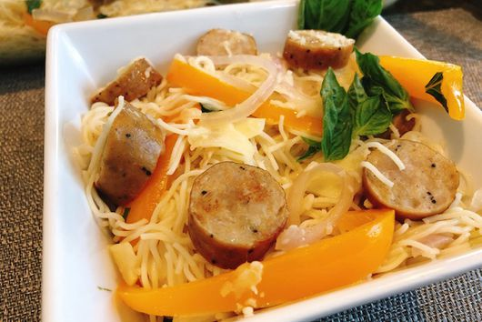 Angel Hair Pasta With Sausage & Peppers