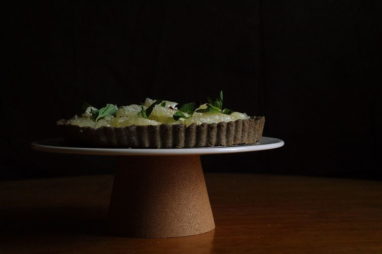 Pomelo, mint and rose tart