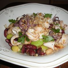 Warm Squid Salad with Saffron-Sherry Vinaigrette and Lemon Breadcrumbs