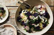 Warm Purple Potato Salad with Green Beans, Radish, and Fennel