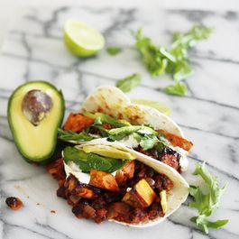 Maple chilli roast sweet potato and black bean tacos