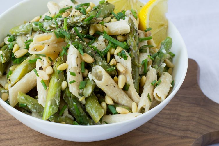Asparagus, Goat Cheese & Lemon Pasta with Pine Nuts & Chives Recipe o...