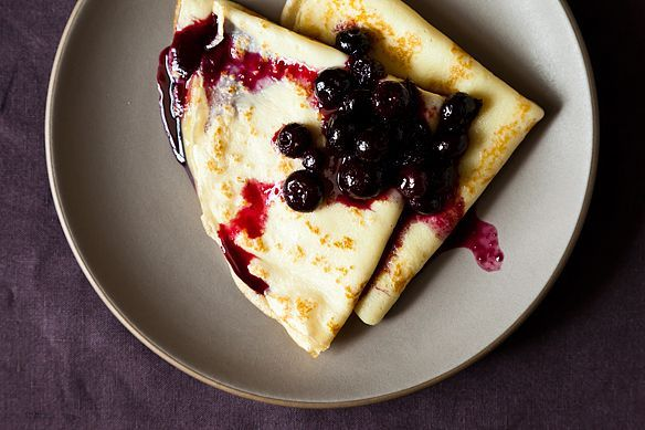 Crepes with Lemon Curd and Blueberry Compote