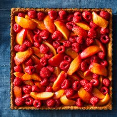 Roasted Raspberry Peach Tart