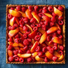 Roasted Raspberry Peach Tart
