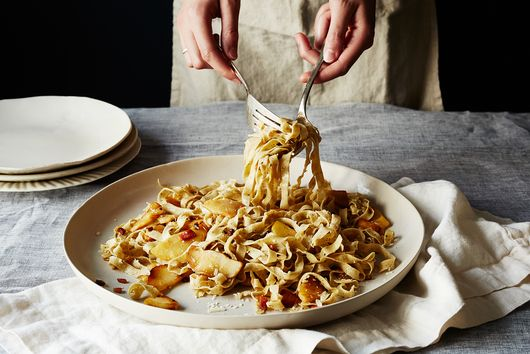 Black Pepper Tagliatelle with Parsnips and Pancetta
