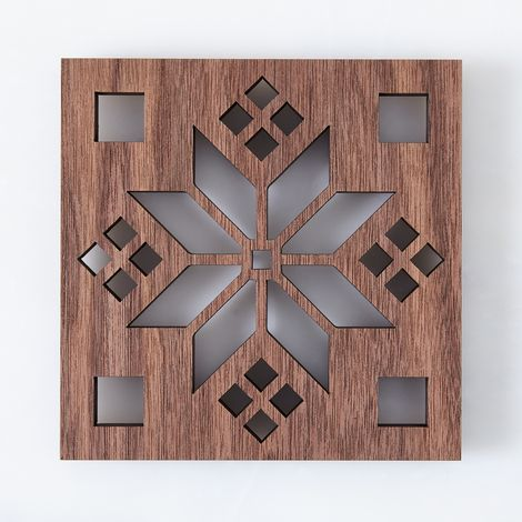 Laser-Cut Walnut Scandinavian Trivet