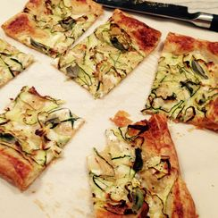 Zuchini Ribbon Tart with Sage and Microwave Alfredo Sauce