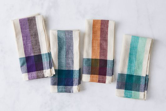 Handwoven Cotton Check Stripe Napkin (Set of 4)