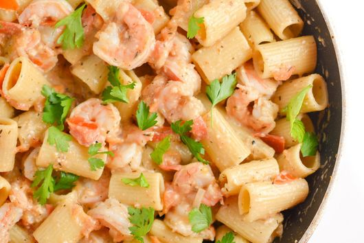 Shrimp Rigatoni with Tomato White Wine Sauce