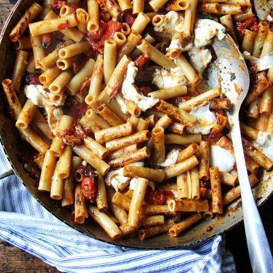 One-Pan Skillet-Baked Ziti with Burst Tomato Sauce