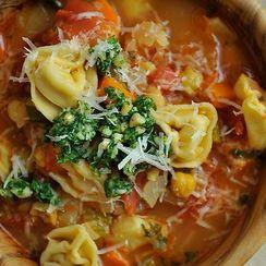 Dinner Tonight: Smoky Minestrone with Tortellini and Basil or Parsley Pesto