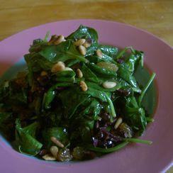 Sauteed Spinach with Kalamata Olives and Raisins