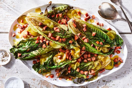 Grilled Romaine With Hot Dog Crispies & Pickle-Mustard Vinaigrette