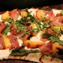 Jalapeno Pesto Grilled Pizza with Peaches