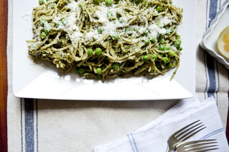 Pistachio Pesto Pasta with Sweet Peas & Walnut Parmesan