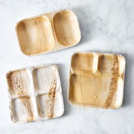Compostable Multi-Compartment Plates from Fallen Leaves (Set of 25)