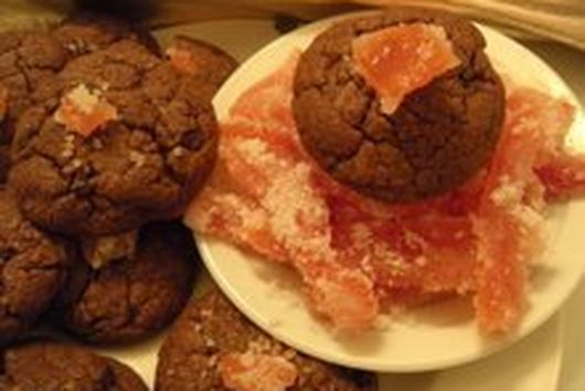 Chocolate Cookies with Crystallized Grapefruit  Zest and  Cocoa Nibs