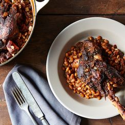 Coffee-Infused Braised Lamb Shanks and Beans