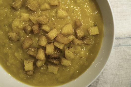 Pumpkin Soup with Polenta Croutons