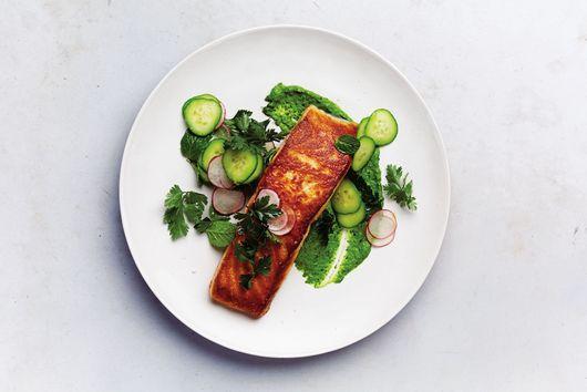 Salmon with the Greenest Tahini Sauce