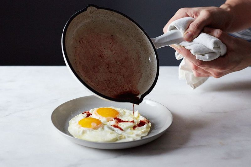 What else did we learn? Drizzle red wine vinegar, heated in the pan, over the eggs you fried in there.