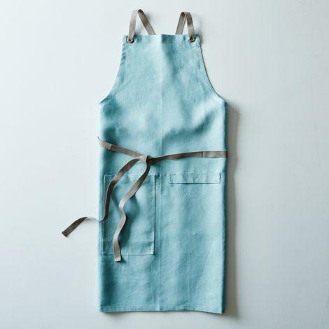 Ocean Blue Cross-Back Kitchen Apron with Slate Ties