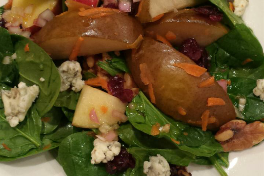 Warm Fruit and Spinach Salad with Gorgonzola