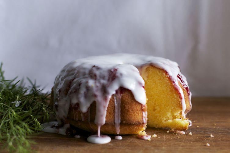 polenta pound cake with strawberry jam glazing