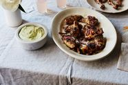 Za'atar Grilled Chicken Wings with Fava Bean Feta Dip