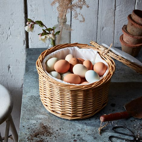 Fabric-lined Rattan Egg Basket