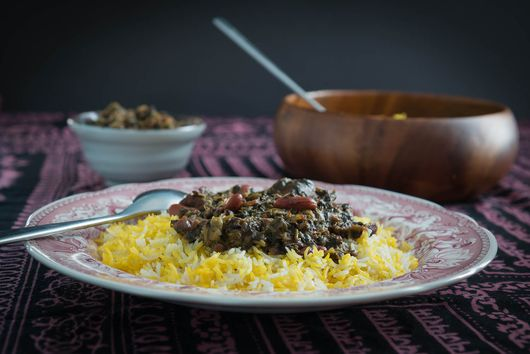 Ghormeh Sabzi served over Saffron Rice (Chelo) and Tahdig